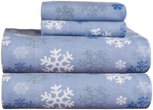 snowflake printed blue flannel sheets