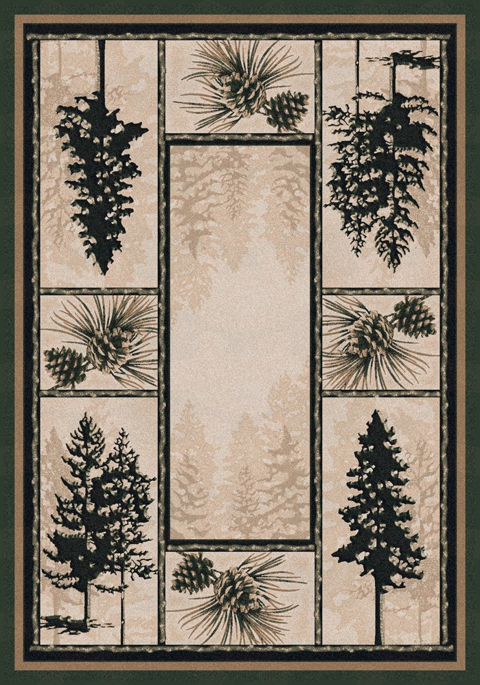 rug has misty silhouettes of evergreen pine trees and pine cones
