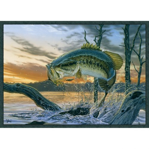 realistic rug with a beautiful large mouth bass on a hook, jumping out of a stream near an underwater log.