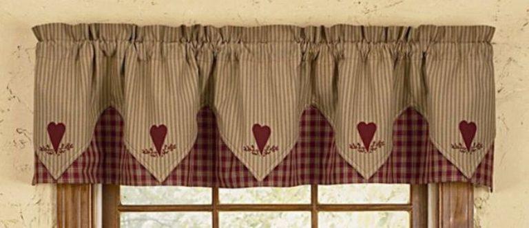 Sturbridge embroidered heart valance