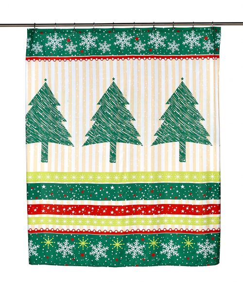 christmas shower curtain with pine trees and snowflakes