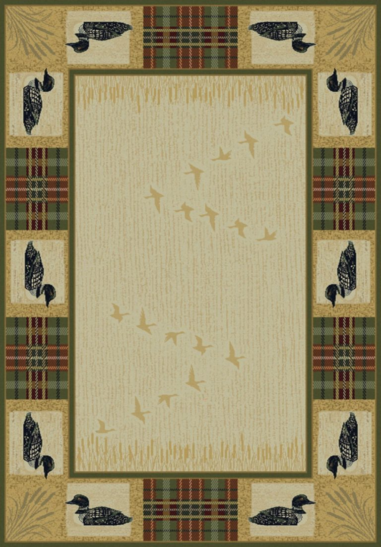 rug with tartan plaid patches and loons
