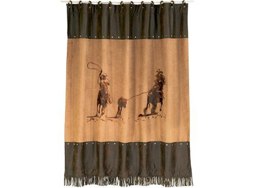 western shower curtain with two cowboys roping a young steer