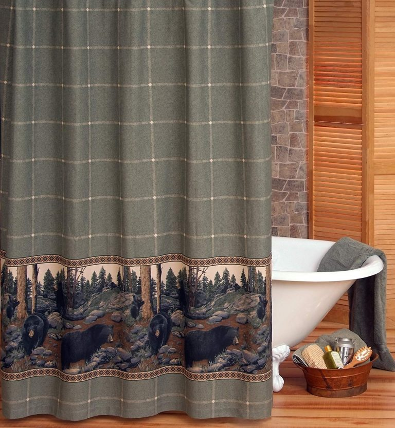 panoramic view of black bears on sage green shower curtain