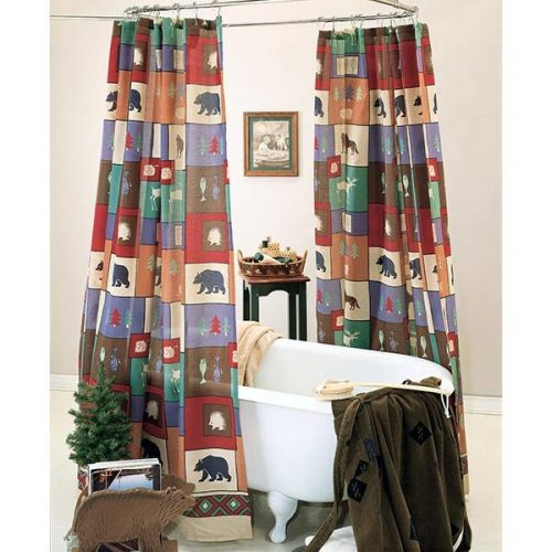 shower curtain with northwoods icons of fish, bear and moose