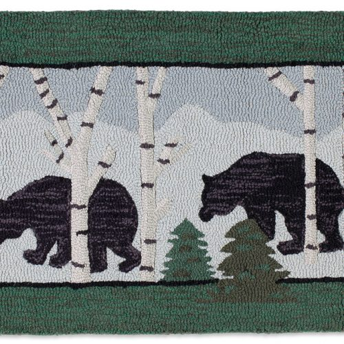 rug with three bears meandering through the birches