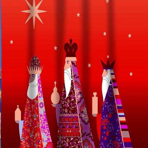 Christmas shower curtain features a stylized version of the three kings