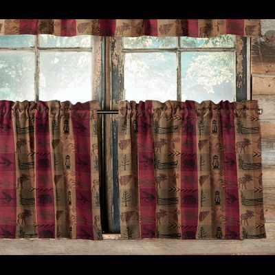 Tier curtains with northwoods motifs, in tan and burgundy