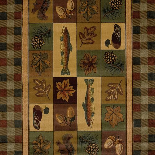 rug featuring fish, squirrels, ducks, autumn leaves, pinecones, and acorns with plaid border