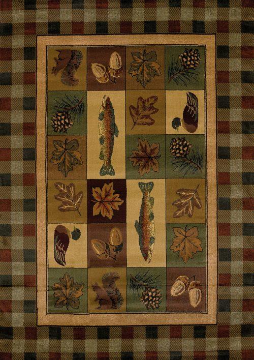 rug featuring fish, squirrels, ducks, autumn leaves, pinecones, and acorns with plaid border