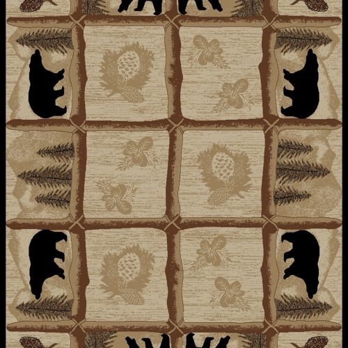 beige rug having twig grid design with bears, pine cones and pine trees