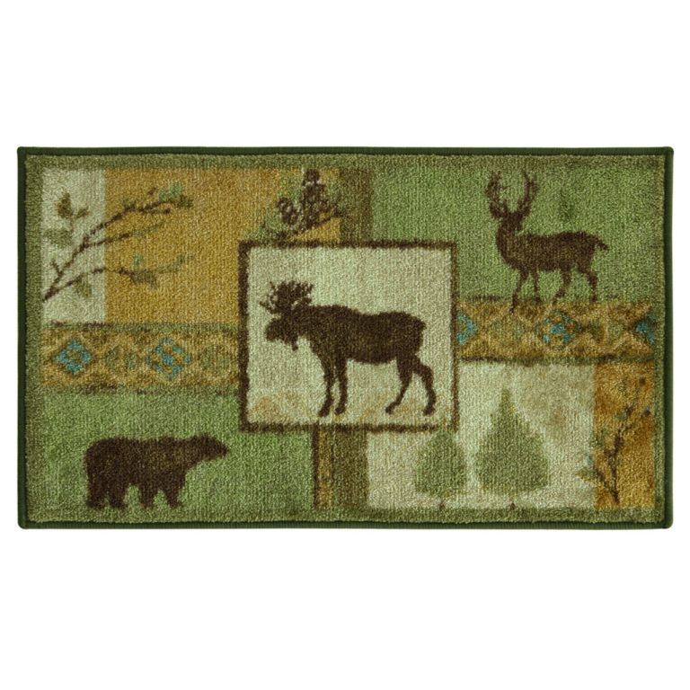forest themed rug with moose, bear and elk