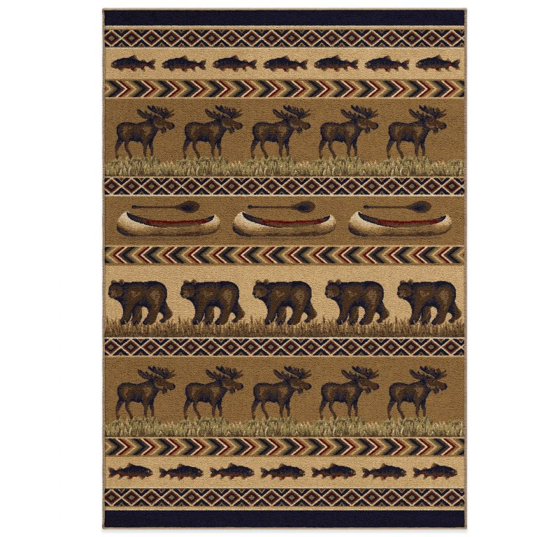 rug with rows of fish, moose, bears and canoes