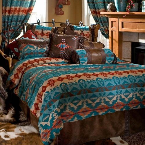 Turquoise chamarro comforter set