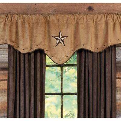 Faux leather valance with Western star