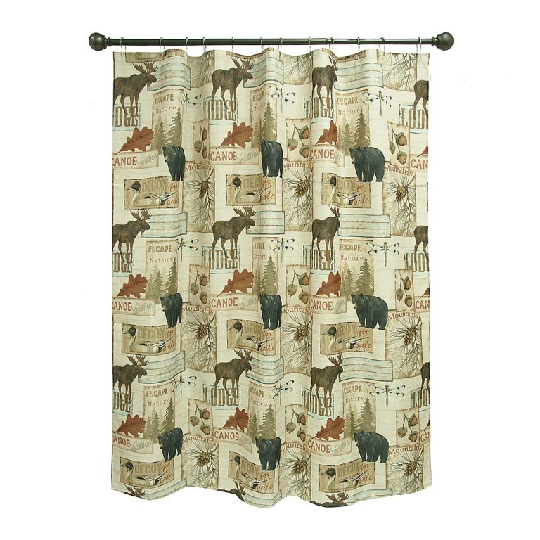moose and bears, surrounded by dozens of vintage prints on a shower curtain