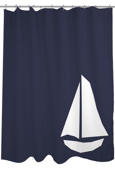 white sailboat silhouette on navy blue shower curtain