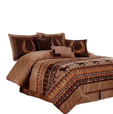 Luxury comforter set in browns with western theme bedding