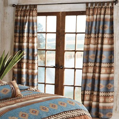 Pretty western design curtains with turquoise and rust colors