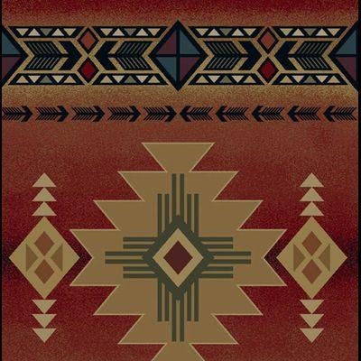 Pretty burgundy rug with Western design