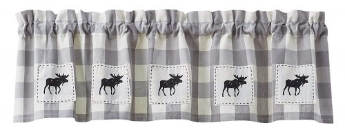 Wicklow Gray valance with moose appliques