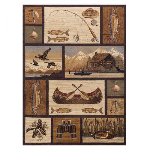 rug with log cabin, fish, ducks, binoculars, fly fishing and a canoe
