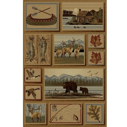 rug with a cozy cabin on a lake, elk, bears, geese, fish and maple and oak leaves.