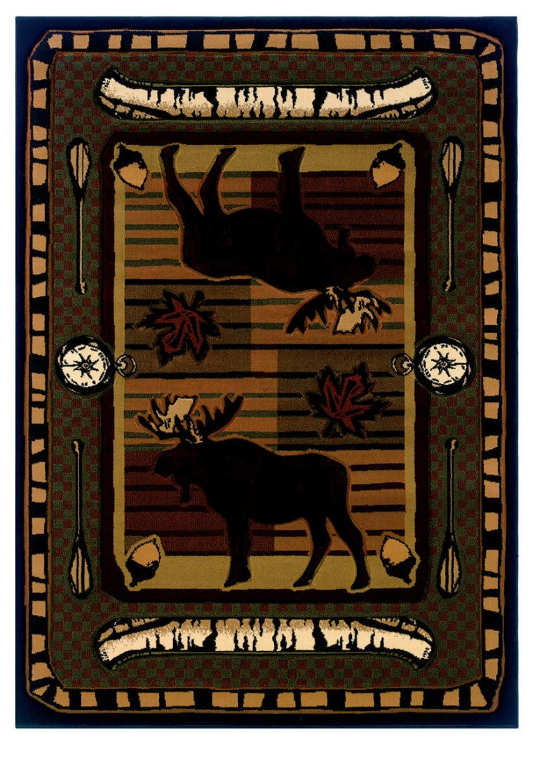 rug with moose, birch bark canoes, paddles, acorns