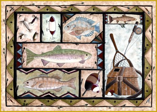 rug with several colorful fish, lures, a fishing creel