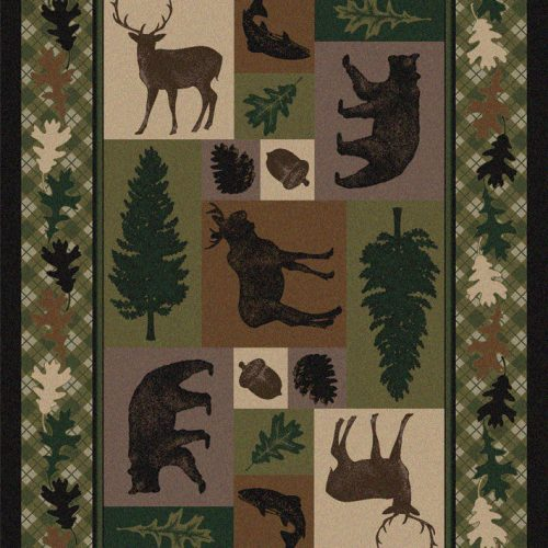 rug with images of bears, moose, deer and fish