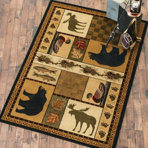 rug with mages of bears, moose, ducks and fish