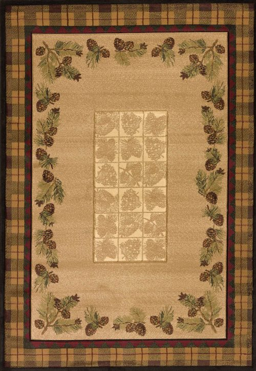 pretty pine cones and plaid borders on natural tan rug