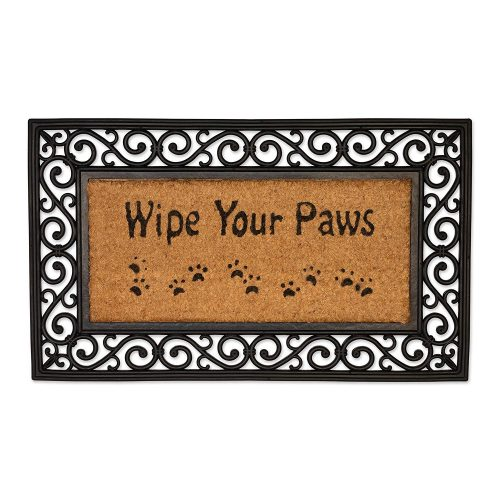 wipe your paws coir doormat with paw prints
