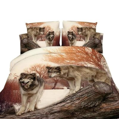 Pretty comforter in browns and white with wolf theme bedding