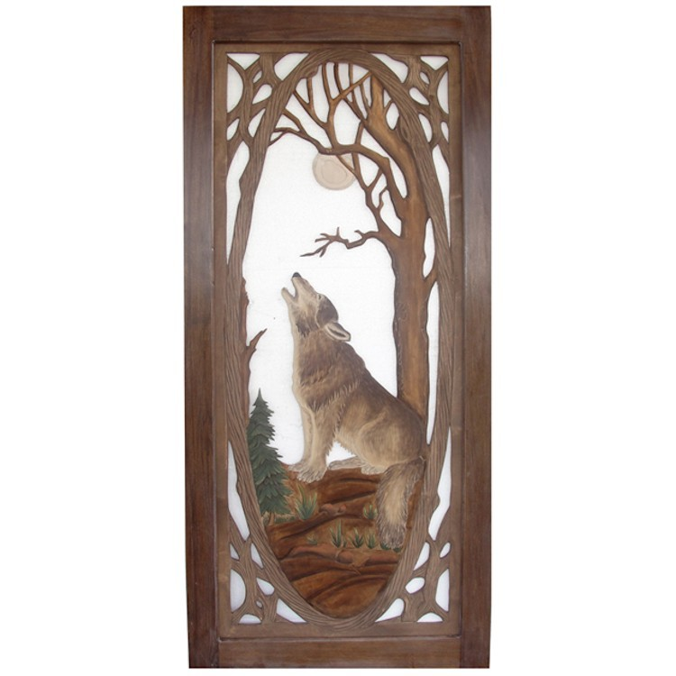 wolf carved and hand painted screen door