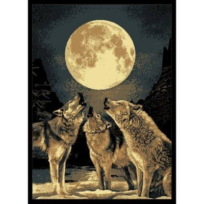 Rug with wolves howling at the moon