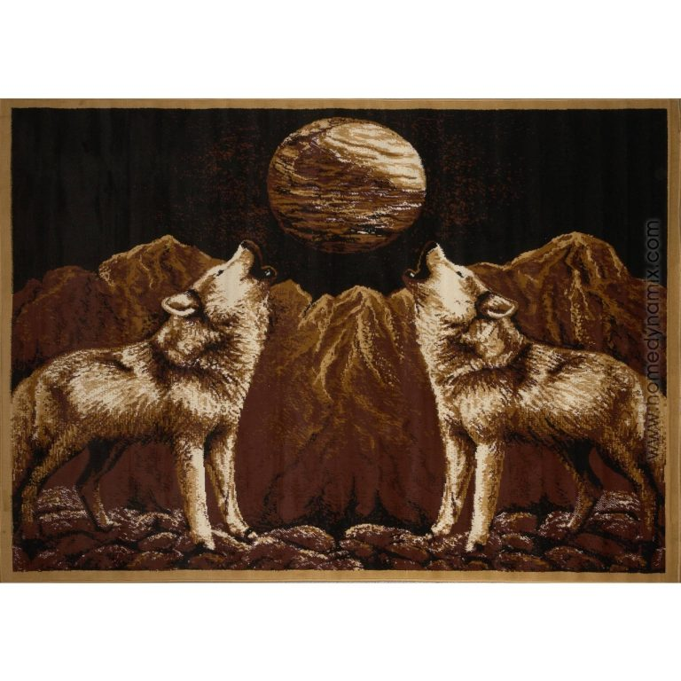 rug with wolf pair howling at the moon