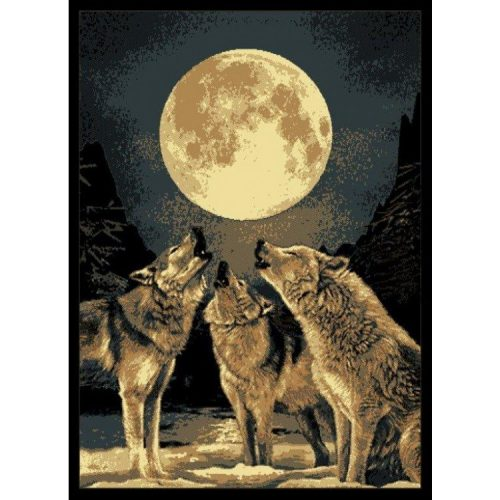 rug with 3 wolves howling at the full moon