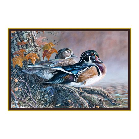 rug with two wood ducks sitting on tree roots