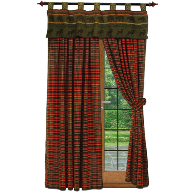 Wooded River red plaid curtains