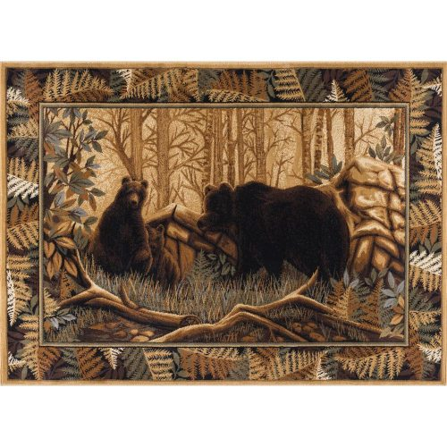 rug depicts a mama bear and 2 cubs with a border of pretty ferns