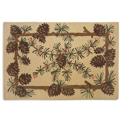 Pretty wool rug with pine cones