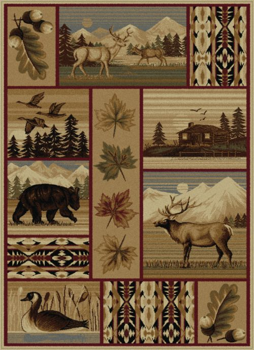 rug picturing deer, bears, other wildlife and a log cabin in yellowstone