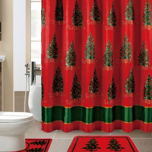 Christmas shower curtain set