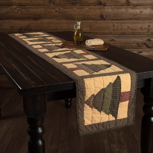 Sequoia table runner with quilted trees