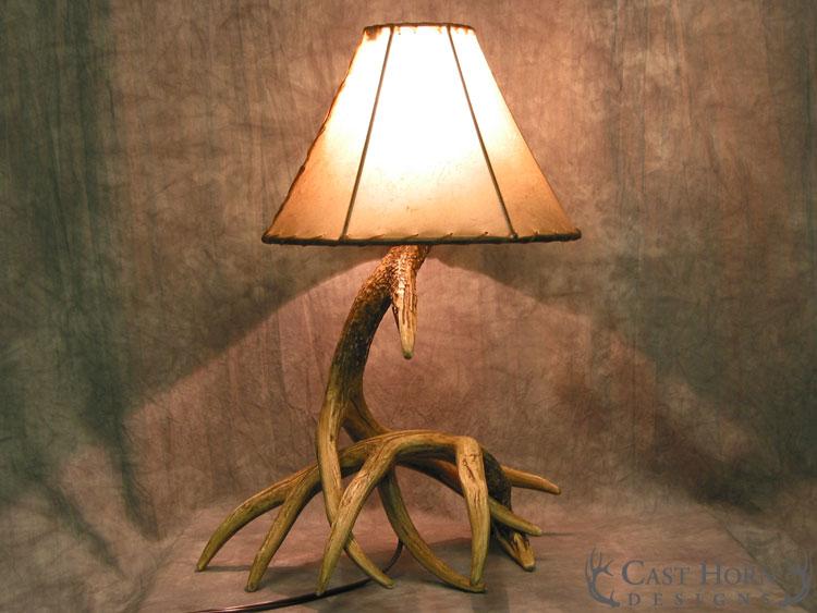 Whitetail deer 2 antler table lamp