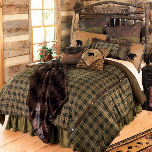 Alpine bear bedding set on bed in log cabin