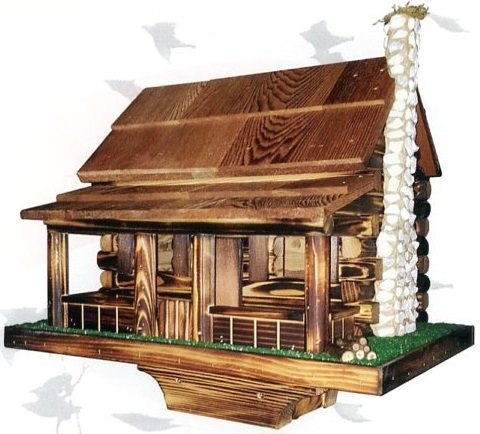 Amish log cabin bird feeder