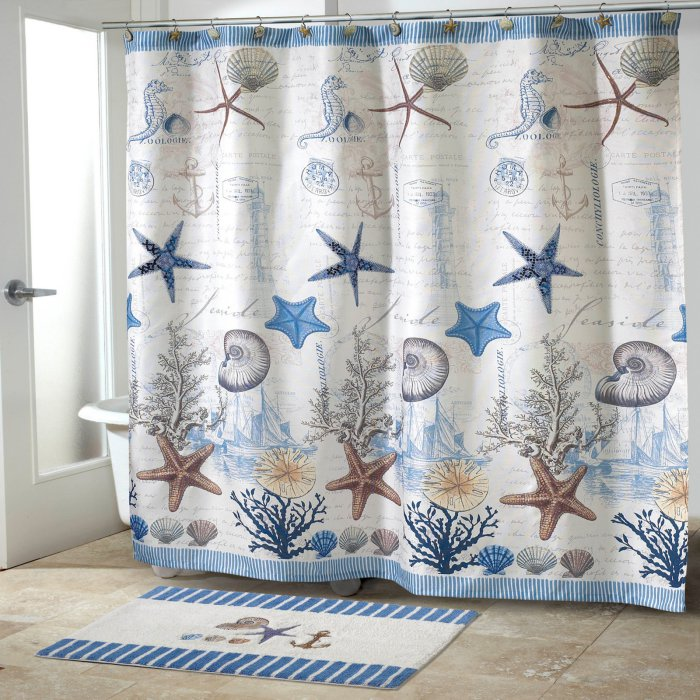 shower curtain with blue sea life postcard motif