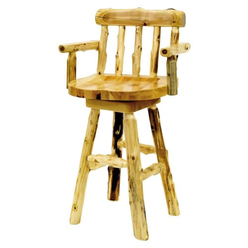 Log bar stool with arms